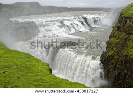 View of the striking Gulfoss Waterfall on the Hvita River in Iceland