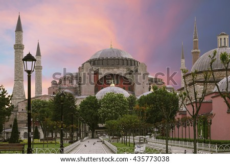 View of the Sultanahmet Square and Saint Sophia at dawn ,Istanbul, Turkey - stock photo