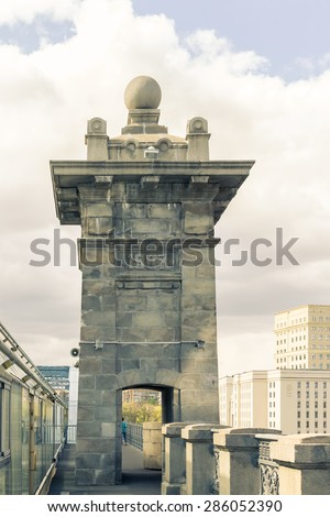View of the support of the Alexander bridge outside. Split toning. - stock photo