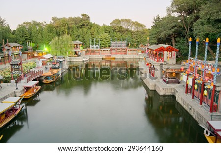 View of the surroundings of the Summer Palace, at twilight in Beijing, China - stock photo