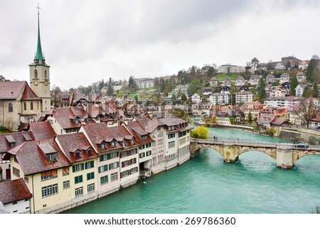 View of the Swiss capital city of Bern, Switzerland, and the River Aare - stock photo
