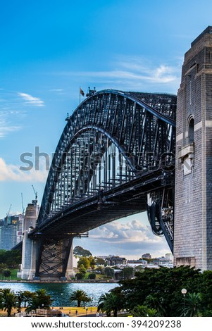 View of the Sydney Harbour Bridge from Kirribilli, North Sydney. - stock photo