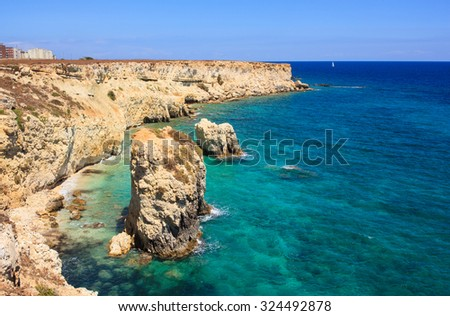 View of the Syracuse sea, famous city in Sicily, Italy