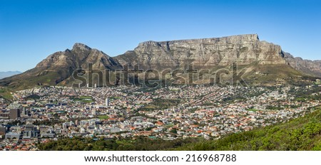 View of the Table Mountain, Devil's Peak and Cape Town, South Africa - stock photo