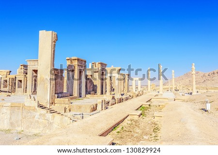 View of the Tachara Palace at Persepolis in northern Shiraz, Iran. Persepolis has led to its designation as a UNESCO World Heritage Site.