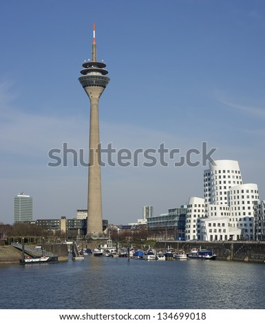 View of the television tower and the harbor of Dusseldorf in Germany - stock photo