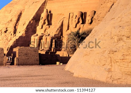 View of the temple of Abu Simbel at Sunrise, Egypt. - stock photo