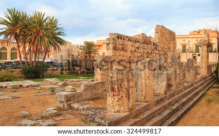 View of the Temple of Apollo in Siracusa, Sicily
