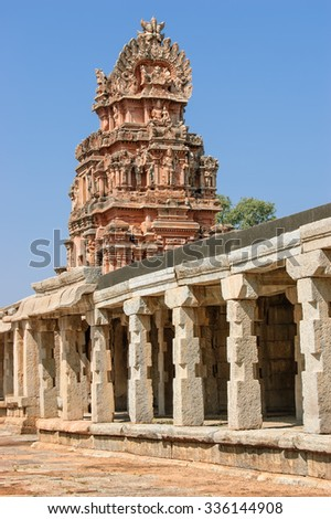 View of the temple of Bala Krishna at Hampi, Karnataka, India. The prominent historical Site is the Balakrishna temple built by the ruler Krishnadevaraya in 1513.  - stock photo