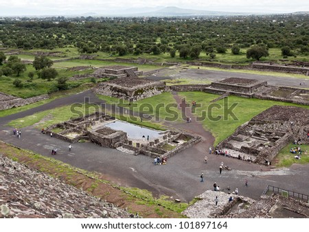 View of the Teotihuacan complex with Sun pyramids - Mexico - stock photo