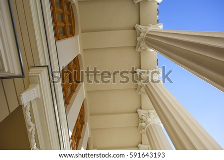 View of the theater building in Subotica, Serbia. Pillar in the building, detail.