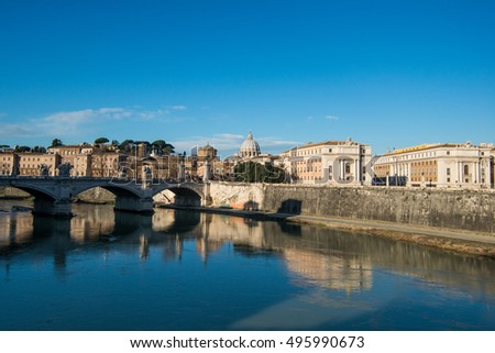 View of the Tiber river and the Vatican in Rome