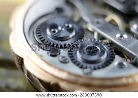 view of the toothed gear and other details clockwork - stock photo
