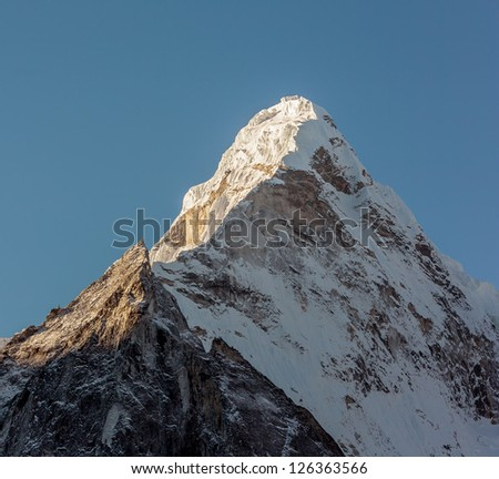 View of the top of the Ama Dablam (6814 m) from the valley of the Chhukhung - Nepal, Himalayas