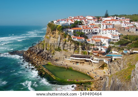 View of the touristic village of Azenhas do Mar in Portugal - stock photo