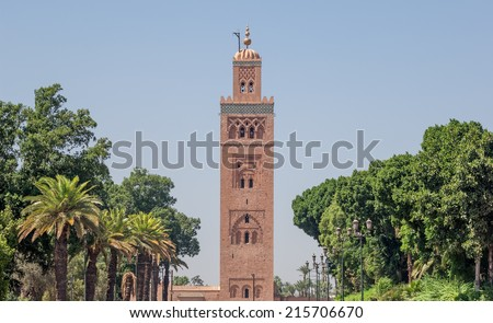 """View of the tower of the ancient """"Koutoubia"""" mosque of Marrakech in Marocco - stock photo"""