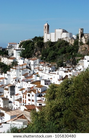 View of the town and church, pueblo blanco, Casares, Costa del Sol, Malaga Province, Andalucia, Spain, Western Europe. - stock photo