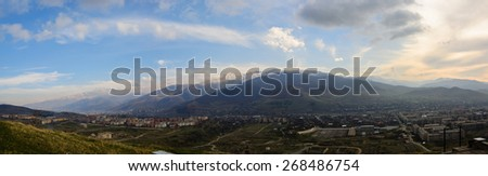 View of the town and surrounding countryside - stock photo