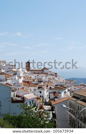 View of the town and surrounding countryside, pueblo blanco, Algatocin, Costa del Sol, Malaga Province, Andalucia, Spain, Western Europe. - stock photo