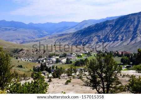 View of the town at Mammoth Hot Springs, Yellowstone National Park - stock photo