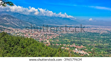 View of the town of Denizli from a mountain. Turkey