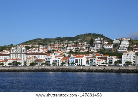 View of the town of Horta on the island of Faial Azores Portugal - stock photo