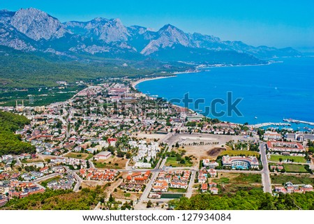 view of the town of Kemer and sea from a mountain. Turkey - stock photo