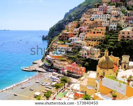 View of the town of Positano, Amalfi Coast, Italy - stock photo