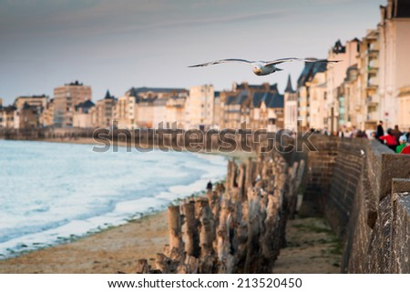 View of the town walls St Malo, Brittany, France, Europe,  - stock photo