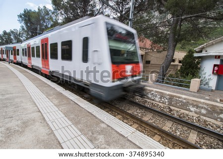 View of the train that reaches to Montserrat abbey located near Barcelona city, Spain.
