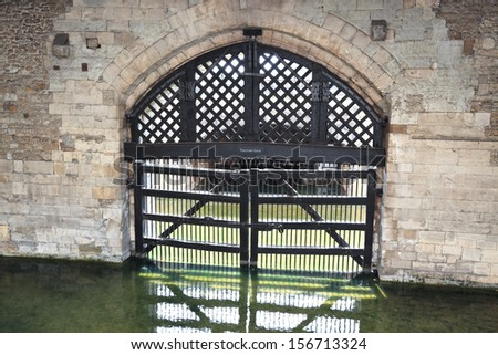 View of the Traitors Gate from inside the castle, Tower of London (UK) - stock photo