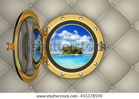 View of the tropical island from the porthole of luxurious yacht, 3D illustration - stock photo