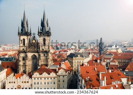 View of the Tyn Church in Prague in the day - stock photo