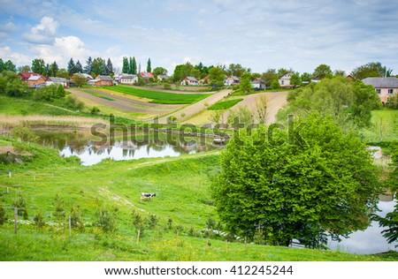 View of the Ukrainian village - stock photo