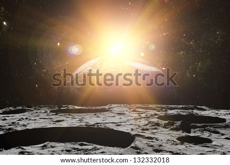 View of the Universe and planet Earth from the moon's surface. Abstract illustration of distant regions. Planet Earth is a picture from NASA. - stock photo