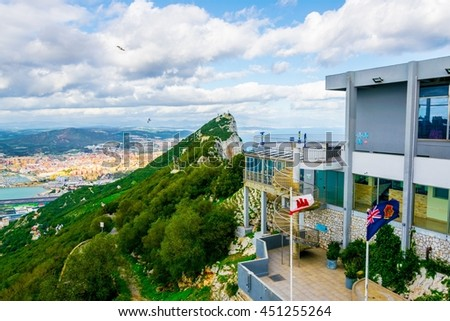 View of the upper cable car station with observation deck in gibraltar - stock photo