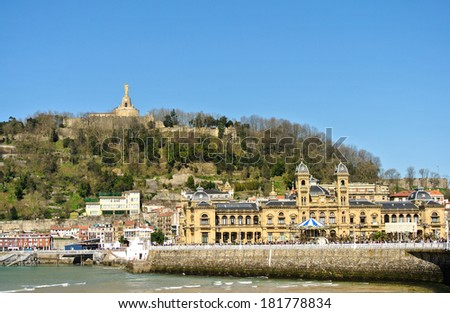 View of the Urgull mountain and the town hall of San Sebastian in Spain - stock photo