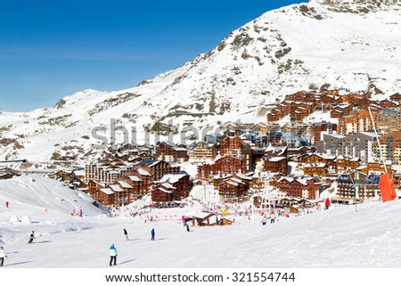 View of the Val Thorens ski resort of Three Valleys , France. Mountains covered with snow - stock photo