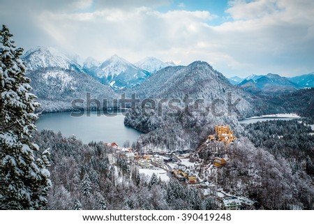 View of the valley and the castle Hohenschwangau - stock photo
