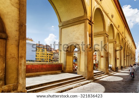 View of the Vasari Corridor (Corridoio Vasariano) in Florence, Tuscany, Italy. Florence is a popular tourist destination of Europe.