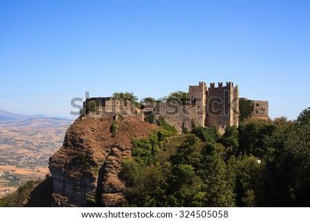 View of the Venere castle in Erice, Trapani - stock photo