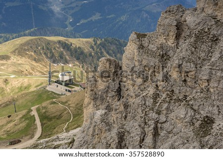 View of the via ferrata at the top of the Gran Cir. Puez in the Dolomites. Alps - stock photo