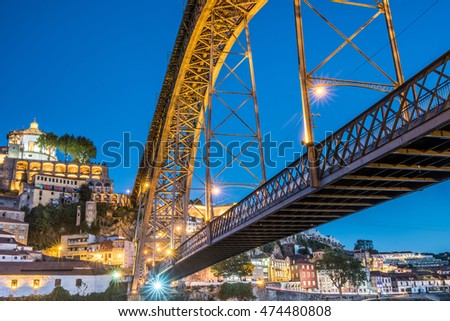 View of the Vila Nova de Gaia city at dusk on the southern bank of the Douro river, Porto, Portugal