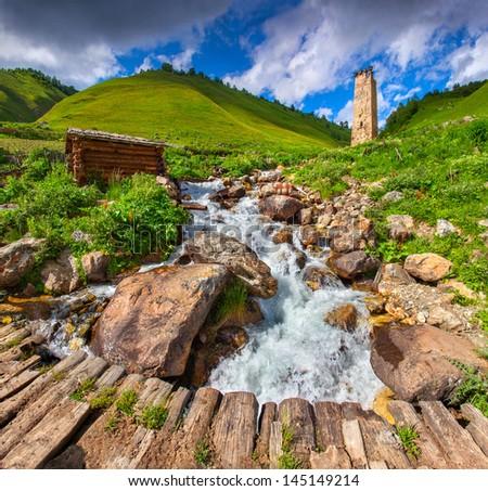 View of the village Adishi. Georgia, Svaneti. - stock photo