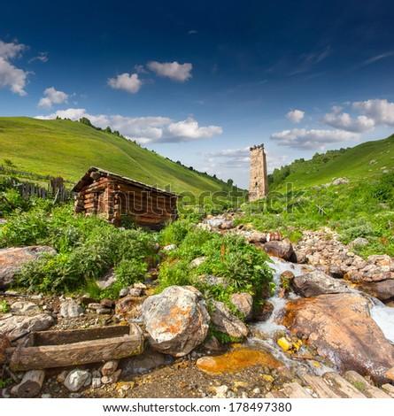 View of the village Adishi. Upper Svaneti, Georgia, Europe. - stock photo