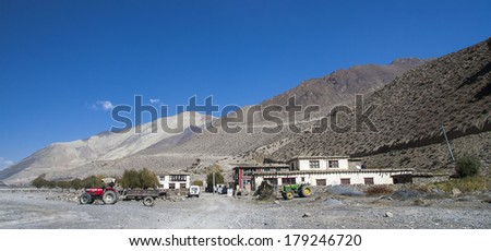 View of the village Ekle Bhatti in the Himalayas. - stock photo