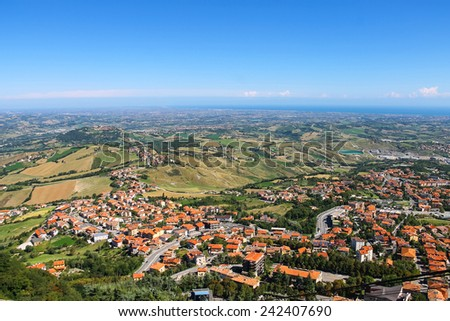 View of the village from the fortress of San Marino. The Republic of San Marino - stock photo