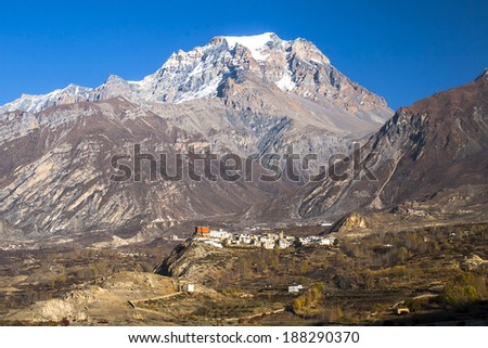 view of the village Jharkot  - stock photo