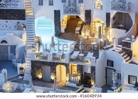 View of the village Oia at night. Greece. - stock photo