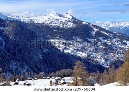 View of the village Tzoumaz at the resort 4 Valleys, Nendaz, Swiss Alps. - stock photo